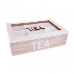 Drewniane pudełko na herbatę z 6 przegródkami TEA białe