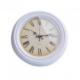 Biały zegar ścienny do kuchni przedpokoju salonu retro