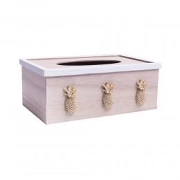 chustecznik pudełko skrzynka drewniana na chusteczki ZŁOTY ANANAS