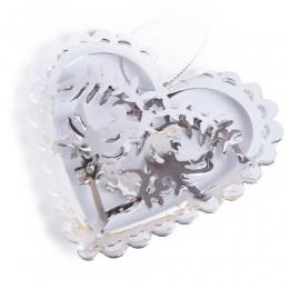 Srebrne ażurowe serce metalowe PTASZKI GOŁĄBKI ozdoba okna dekoracja