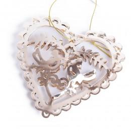 Złote ażurowe serce metalowe PTASZKI GOŁĄBKI ozdoba okna dekoracja