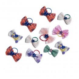 Kolorowe KOKARDKI gumki do włosów dla psa Yorka Shih Tzu Maltańczyka
