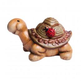 Żółw z domkiem i biedronką / gliniana figurka żółwia do domu ogrodu