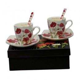 Białe filiżanki do espresso ze spodkiem dla dwojga MAKI prezent