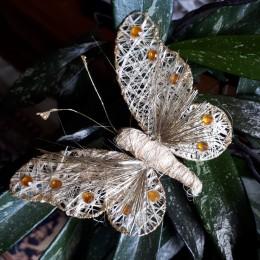 Eko złoty motyl z klipsem / motylek klips upinacz do firan zasłon