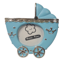 Niebieski wózek ramka na zdjęcie dziecka prezent chrzest urodziny