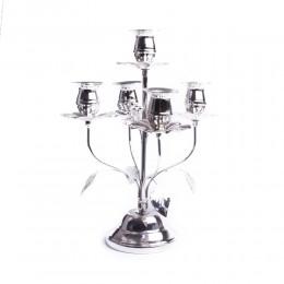 Duży świecznik 7 ramienny metalowy platerowany SREBRNY na prezent