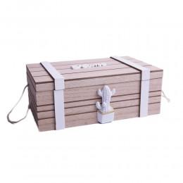Drewniana skrzyneczka kuferek na drobiazgi z rączkami ZŁOTY ANANAS