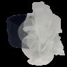 Granatowa opaska na głowę dla niemowlaka z dużym kwiatem