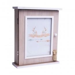 Drewniana skrzyneczka na klucze do domu ZŁOTY ANANAS skrzynka na klucze
