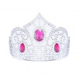 Diadem księżniczki / plastikowa korona dla dzieci różowymi kamykami