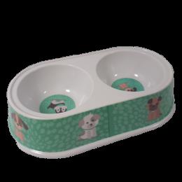 Podwójna owalna miska dla psa kota poj. 2x200 ml
