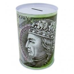 Duża skarbonka metalowa puszka 100 złotych / skarbonka nieotwierana