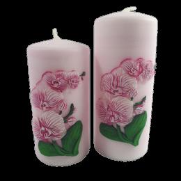 Świeca WALEC różowa bezzapachowa z motywem ORCHIDEA storczyk