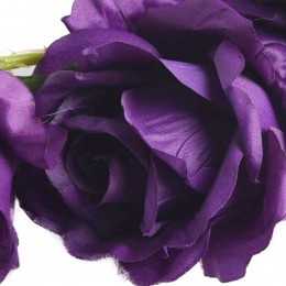Duża fioletowa róża sztuczna gałązka z 3 kwiatami h 97 cm