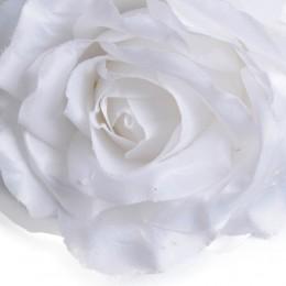 Duża biała róża sztuczna gałązka z 3 kwiatami h 97 cm
