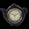 Czarny zegar ścienny do kuchni CZAJNICZEK / zegar kuchenny