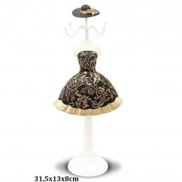 Wieszak manekin stojak na biżuterię LALKA 31cm CZARNA SUKIENKA