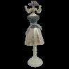 Wieszak manekin stojak na biżuterię LALKA 34cm SZARA SUKIENKA