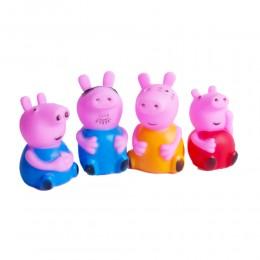 ŚWINKA PEPPA z rodziną zestaw 4 gumowe figurki kolorowe piszczące