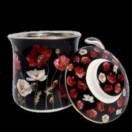 Ceramiczny kubek z zaparzaczem sitkiem do herbaty ziółek CZERWONE MAKI