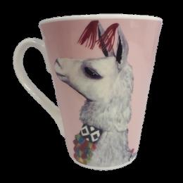 Różowy ceramiczny kubek z lamą alpaką 350 ml na prezent