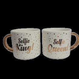Zestaw złotych kubków dla Niej dla Niego SELFIE KING SELFIE QUEEN