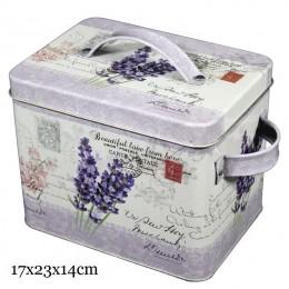Pudełko ozdobne motyw LAWENDA / metalowe pudełko z rączkami