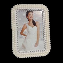 Prostokątna ramka na zdjęcie ślubne z cyrkoniami i perełkami 9x14cm