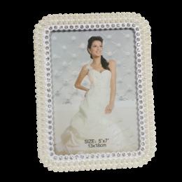 Prostokątna ramka na zdjęcie ślubne z cyrkoniami i perełkami 13x18cm