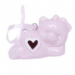 Ceramiczny różowy miś zawieszka prezent na narodziny dziecka