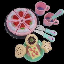 Tort urodzinowy do krojenia dla dzieci + ciasteczka + filiżanki