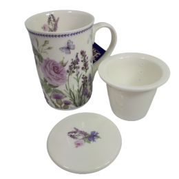 Kubek z zaparzaczem ceramicznym LAWENDA 300ml do zaparzania herbaty