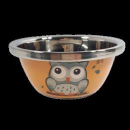 Pomarańczowa metalowa miska dla psa 1L z sówką