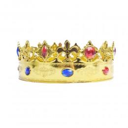 Złota korona króla księcia na bal jasełka karnawał party / królewska korona