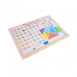 Drewniana dwustronna tablica dla dzieci literki cyferki