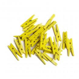 Mini klamerki ozdobne drewniane mini spinacze 24 szt ŻÓŁTE