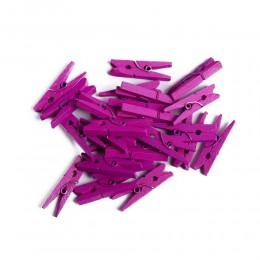 Mini klamerki ozdobne drewniane mini spinacze 24 szt RÓŻOWE