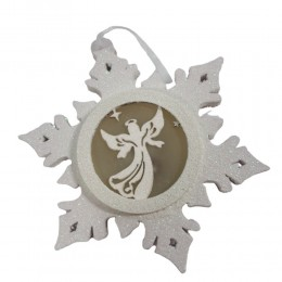 Zawieszka ozdobna LED gwiazdka śnieżynka z aniołkiem na Święta