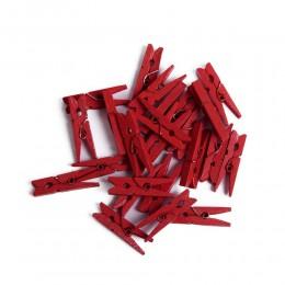 Mini klamerki ozdobne drewniane mini spinacze 24 szt CZERWONE