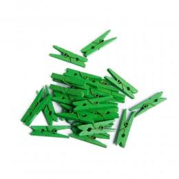 Mini klamerki ozdobne drewniane mini spinacze 24 szt ZIELONE