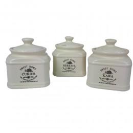 Zestaw pojemników kuchennych 3 szt. kawa herbata cukier