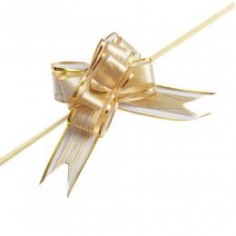 Złote wstążki ściągane w kokardy do dekoracji weselnych 10 szt