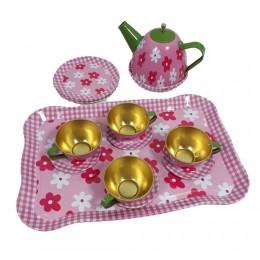 Zestaw kuchenny zestaw naczyń z tacą filiżanki czajnik talerzyki