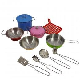 Duży komplet kuchenny dla dzieci GARNKI METALOWE + akcesoria