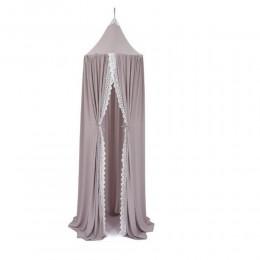 Duży szary baldachim do łóżeczka koronka gęsty / wiszący namiot