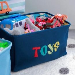 Granatowy organizer pojemnik na zabawki worek kosz na pranie TOYS