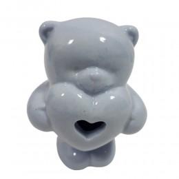 Ceramiczny niebieski miś z serduszkiem prezent na narodziny dziecka