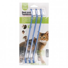 Zestaw dwustronnych szczoteczek do mycia zębów psa/kota 4szt