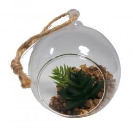 Bombka szklana wisząca z otworem i sztucznymi roślinami / ogródek